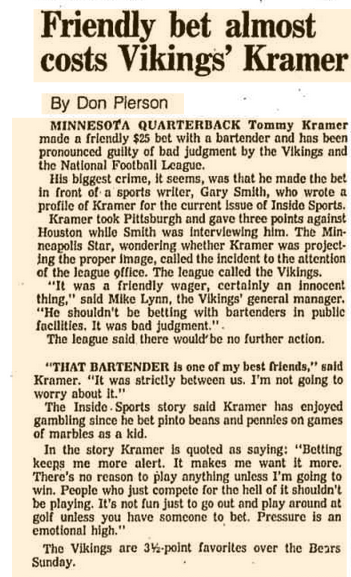 December 4 1981 Friendly bet almost costs Vikings Kramer Chicago Tribune Archive