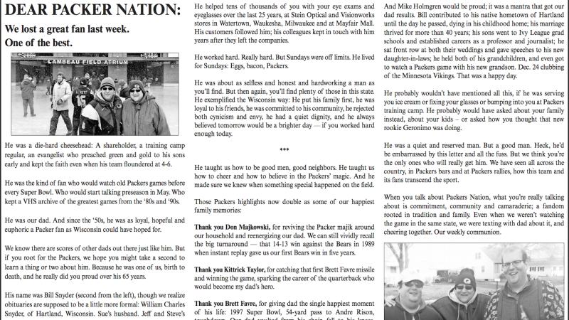 af3af7fc3df2 Family honors dad with half-page newspaper ad thanking Packers ...